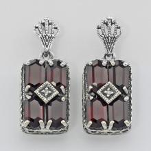 Art Deco Style Garnet and Diamond Earrings - Sterling Silver #PAPPS98194