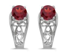 Certified 14k White Gold Round Garnet And Diamond Earrings 1.01 CTW #PAPPS27115