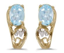 Certified 14k Yellow Gold Oval Aquamarine And Diamond Earrings 0.59 CTW #PAPPS27131