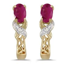 Certified 14k Yellow Gold Oval Ruby And Diamond Earrings 0.37 CTW #PAPPS27083