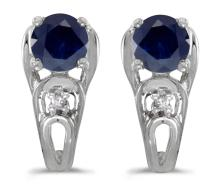Certified 14k White Gold Round Sapphire And Diamond Earrings 1.07 CTW #PAPPS27076