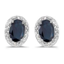 Certified 14k White Gold Oval Sapphire And Diamond Earrings 0.8 CTW #PAPPS27169