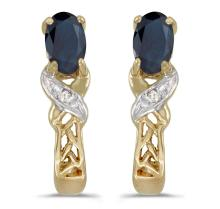 Certified 14k Yellow Gold Oval Sapphire And Diamond Earrings 0.51 CTW #PAPPS27085