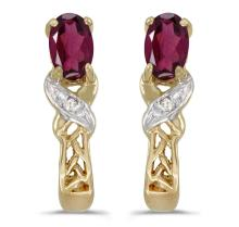 Certified 14k Yellow Gold Oval Rhodolite Garnet And Diamond Earrings 0.47 CTW #PAPPS27090