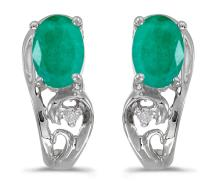 Certified 14k White Gold Oval Emerald And Diamond Earrings 0.63 CTW #PAPPS27145