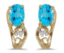 Certified 14k Yellow Gold Oval Blue Topaz And Diamond Earrings 0.81 CTW #PAPPS27138