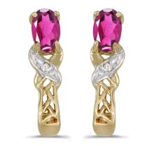 Certified 14k Yellow Gold Oval Pink Topaz And Diamond Earrings 0.51 CTW #PAPPS27089