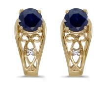 Certified 14k Yellow Gold Round Sapphire And Diamond Earrings 1.07 CTW #PAPPS27111