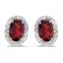 Certified 14k White Gold Oval Garnet And Diamond Earrings 0.96 CTW #PAPPS27165