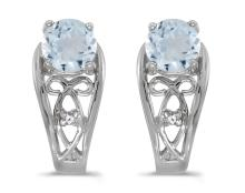 Certified 14k White Gold Round Aquamarine And Diamond Earrings 0.59 CTW #PAPPS27117