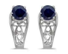 Certified 14k White Gold Round Sapphire And Diamond Earrings 1.07 CTW #PAPPS27123