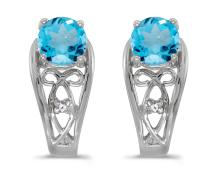 Certified 14k White Gold Round Blue Topaz And Diamond Earrings 0.89 CTW #PAPPS27124