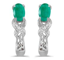 Certified 14k White Gold Oval Emerald And Diamond Earrings 0.33 CTW #PAPPS27095