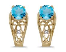 Certified 14k Yellow Gold Round Blue Topaz And Diamond Earrings 0.89 CTW #PAPPS27114