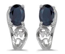 Certified 14k White Gold Oval Sapphire And Diamond Earrings 0.79 CTW #PAPPS27148
