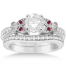 Butterfly Diamond and Ruby Bridal Set Platinum (1.12ct) #PAPPS21114