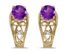Certified 14k Yellow Gold Round Amethyst And Diamond Earrings 0.79 CTW #PAPPS27105