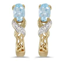 Certified 14k Yellow Gold Oval Aquamarine And Diamond Earrings 0.29 CTW #PAPPS27080