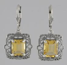 Victorian Style 8 Carat TW Citrine Filigree Earrings - Sterling Silver #PAPPS98549