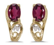 Certified 14k Yellow Gold Oval Rhodolite Garnet And Diamond Earrings 0.99 CTW #PAPPS27140