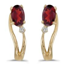 Certified 14k Yellow Gold Oval Garnet And Diamond Wave Earrings 0.47 CTW #PAPPS27126