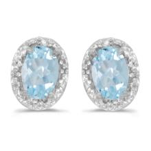Certified 14k White Gold Oval Aquamarine And Diamond Earrings 0.6 CTW #PAPPS27167