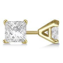 1.00ct. Martini Princess Diamond Stud Earrings 14kt Yellow Gold (H-I, SI2-SI3) #PAPPS20987