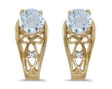 Certified 14k Yellow Gold Round Aquamarine And Diamond Earrings 0.59 CTW #PAPPS27106