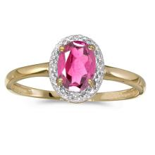 Certified 14k Yellow Gold Oval Pink Topaz And Diamond Ring 0.85 CTW #PAPPS50978