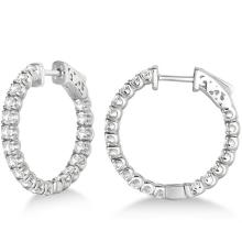 Small Fancy Round Diamond Hoop Earrings 14k White Gold (2.75ct) #PAPPS21009
