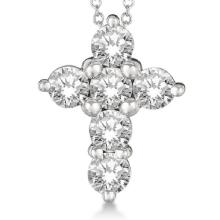 Prong Set Round Diamond Cross Pendant Necklace 14k White Gold (2.05ct) #PAPPS20896
