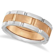 Comfort-Fit Two-Tone Wedding Band in 14k White and Rose Gold (8.5mm) #PAPPS20985