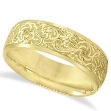 Hand-Engraved Flower Wedding Ring Wide Band 14k Yellow Gold (7mm) #PAPPS20943