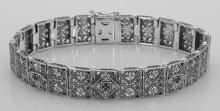 Victorian Style Blue Sapphire and Diamond Filigree Link Bracelet Sterling Silver #PAPPS98557
