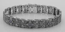 Victorian Style Amethyst and Diamond Filigree Link Bracelet - Sterling Silver #PAPPS98555