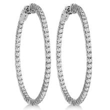 Prong-Set Diamond Hoop Earrings in 14k White Gold (3.00ct) #PAPPS20971