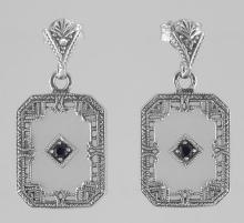 Art Deco Camphor Glass Sapphire Diamond Filigree Earrings Sterling Silver #PAPPS98552