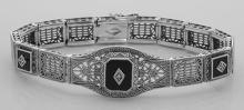 Art Deco Style 3 Stone Black Onyx and Diamond Filigree Link Bracelet Sterling #PAPPS98553