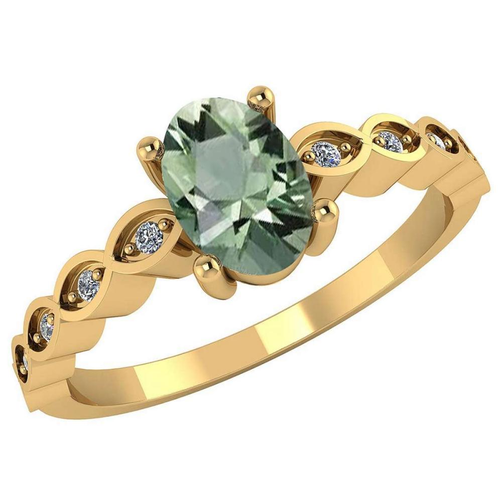 Certified .90 CTW Genuine Green Amethyst And Diamond 14K Yellow Gold Ring #PAPPS91734