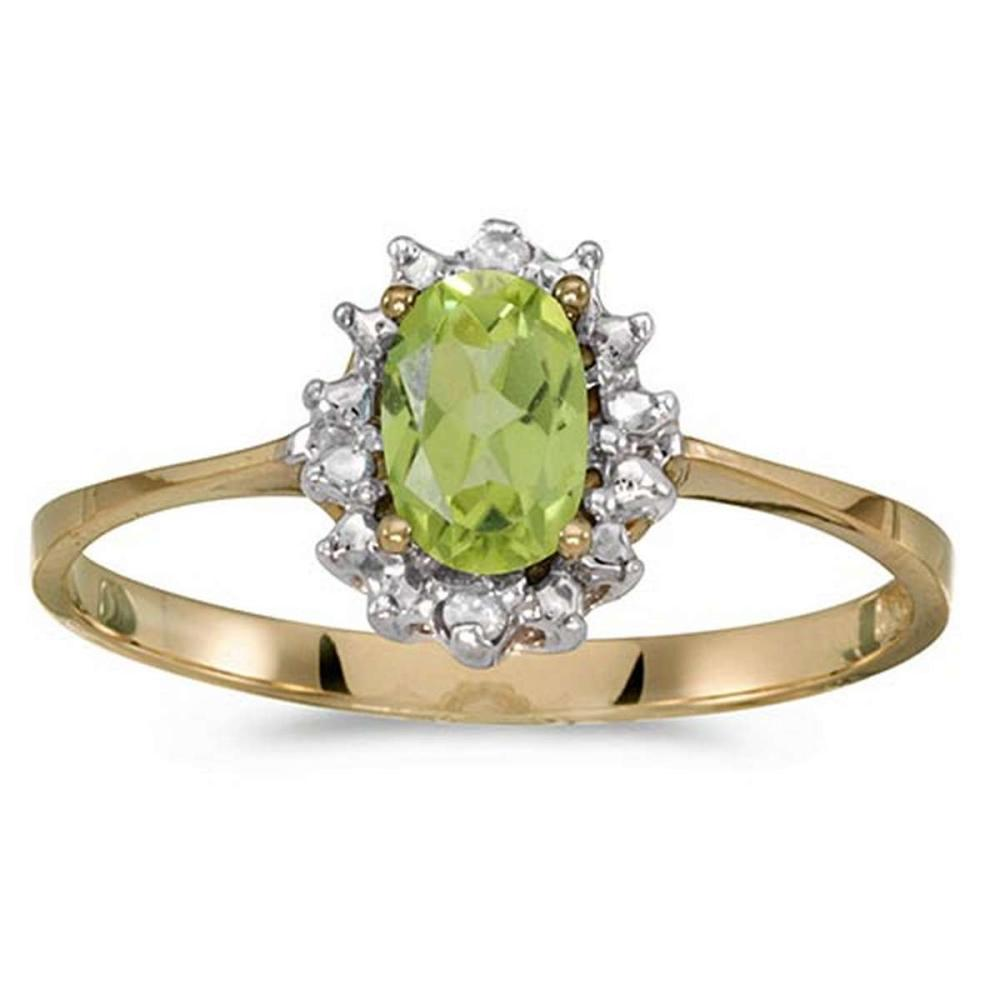 Certified 14k Yellow Gold Oval Peridot And Diamond Ring #PAPPS51215