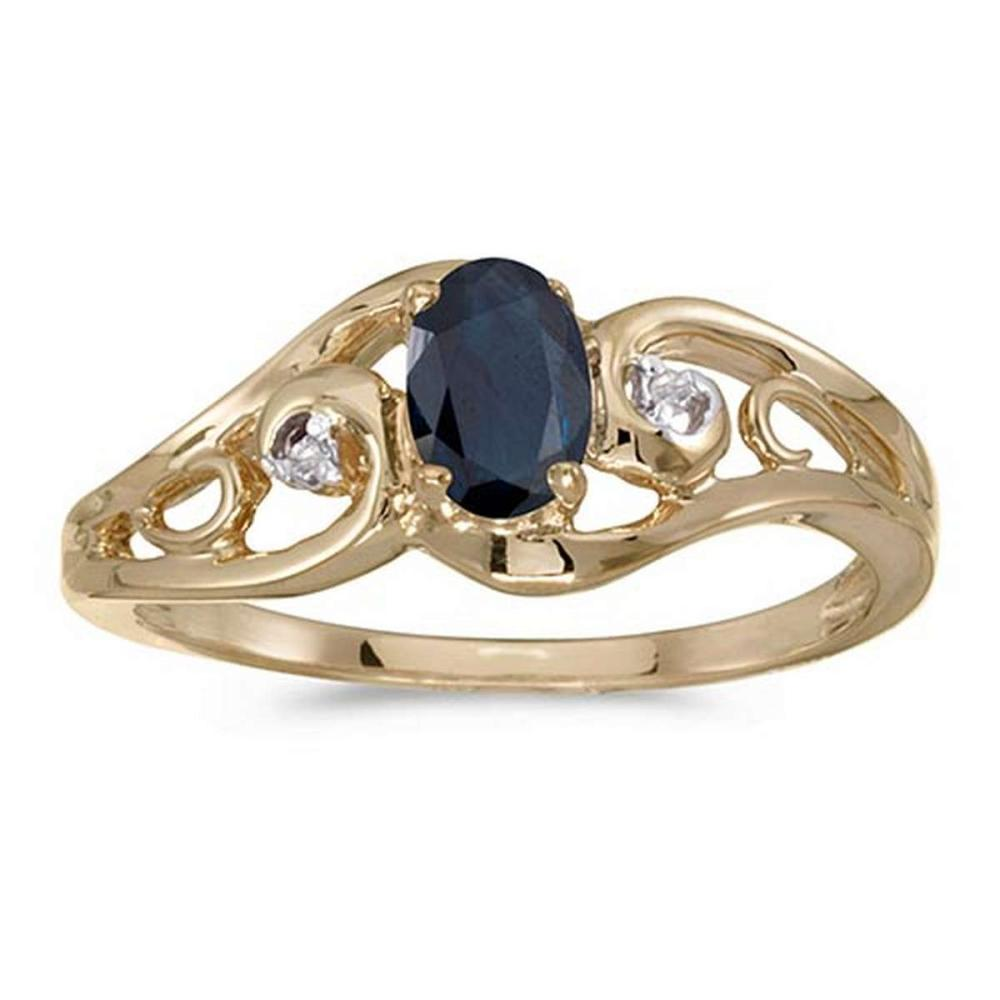 Certified 14k Yellow Gold Oval Sapphire And Diamond Ring #PAPPS51219