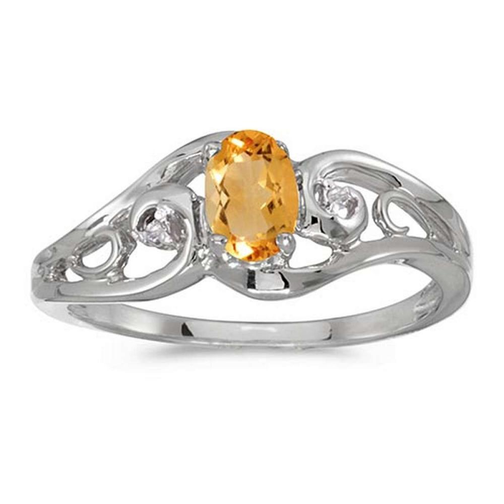 Certified 10k White Gold Oval Citrine And Diamond Ring #PAPPS51273