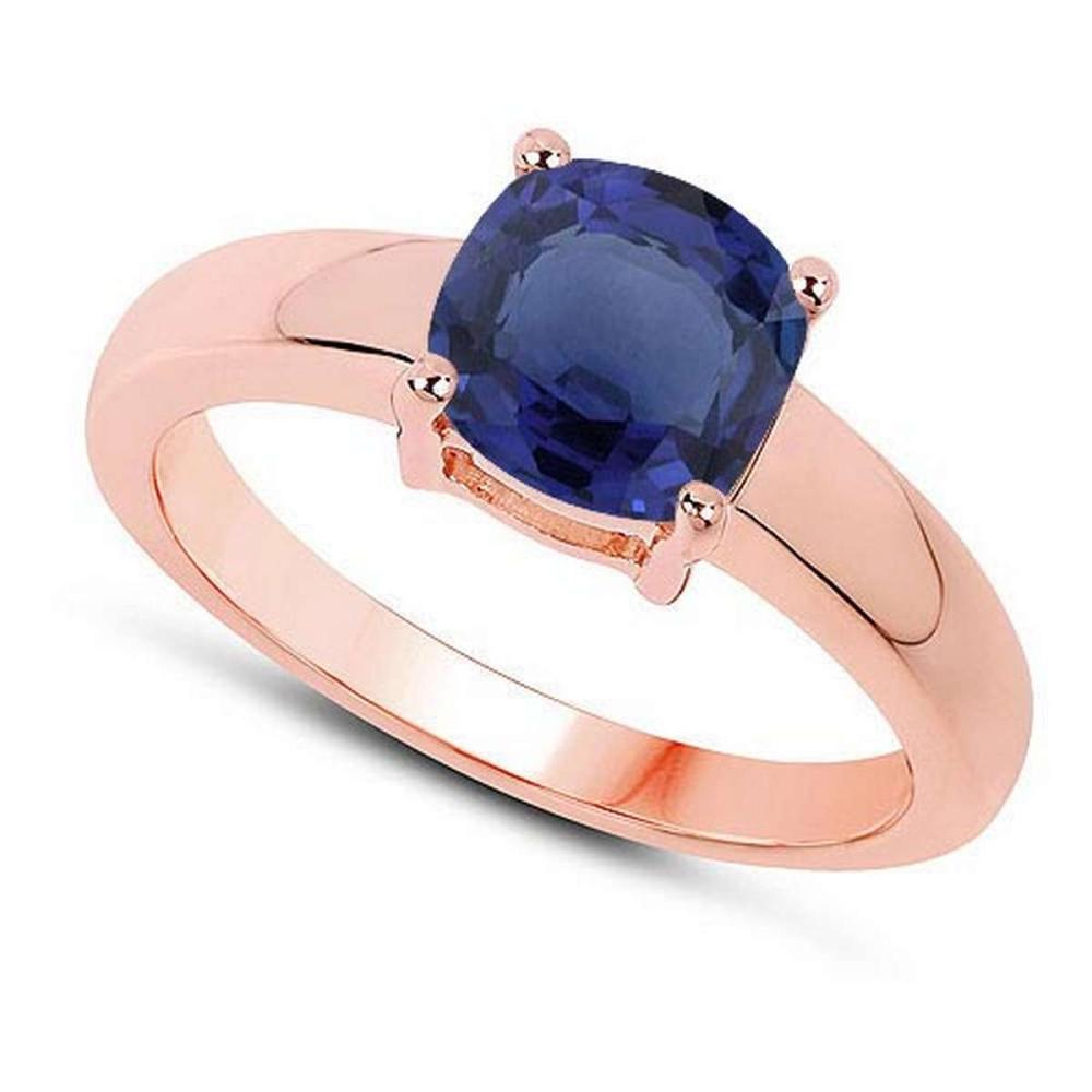 Certified 1.30 CTW Genuine Blue Sapphire And 14K Rose Gold Ring #PAPPS90999