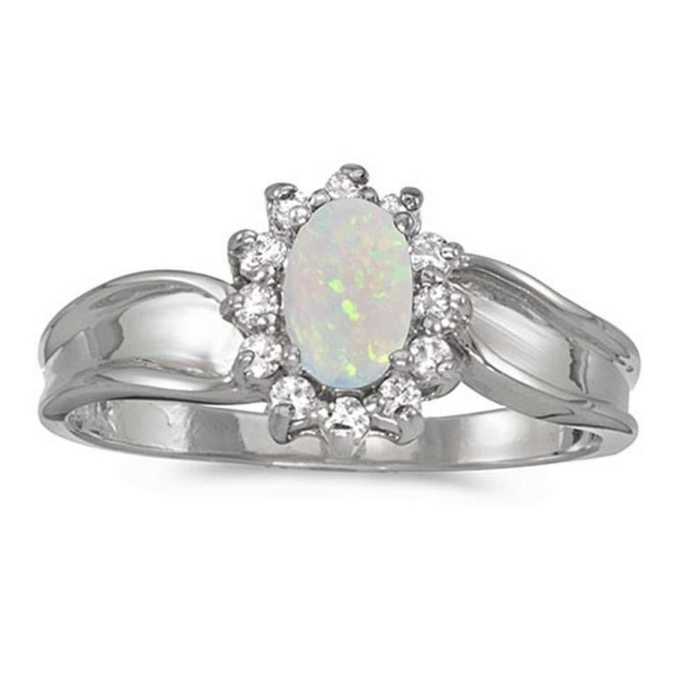 Certified 10k White Gold Oval Opal And Diamond Ring #PAPPS51315