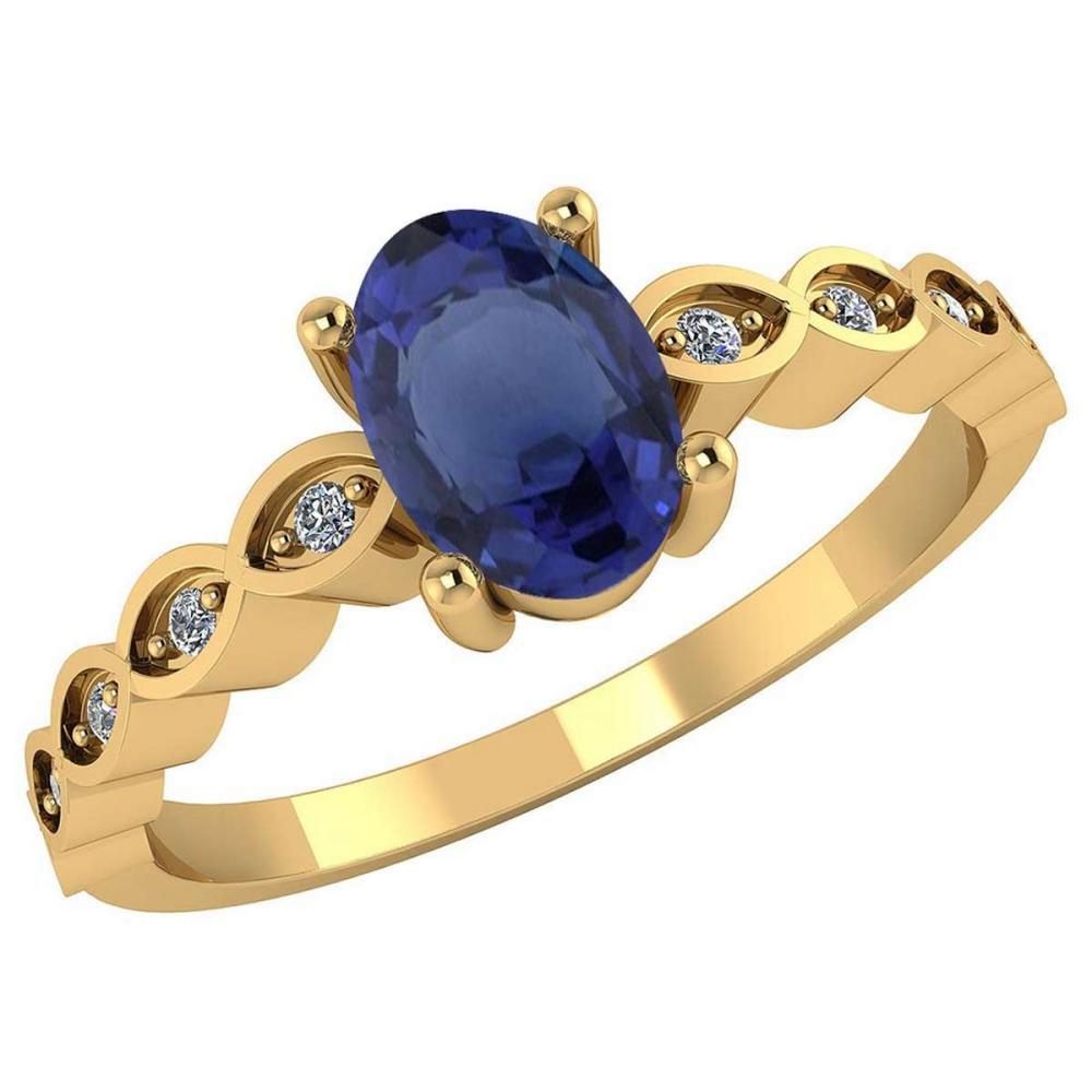 Certified .90 CTW Genuine Blue Sapphire And Diamond 14K Yellow Gold Ring #PAPPS91728
