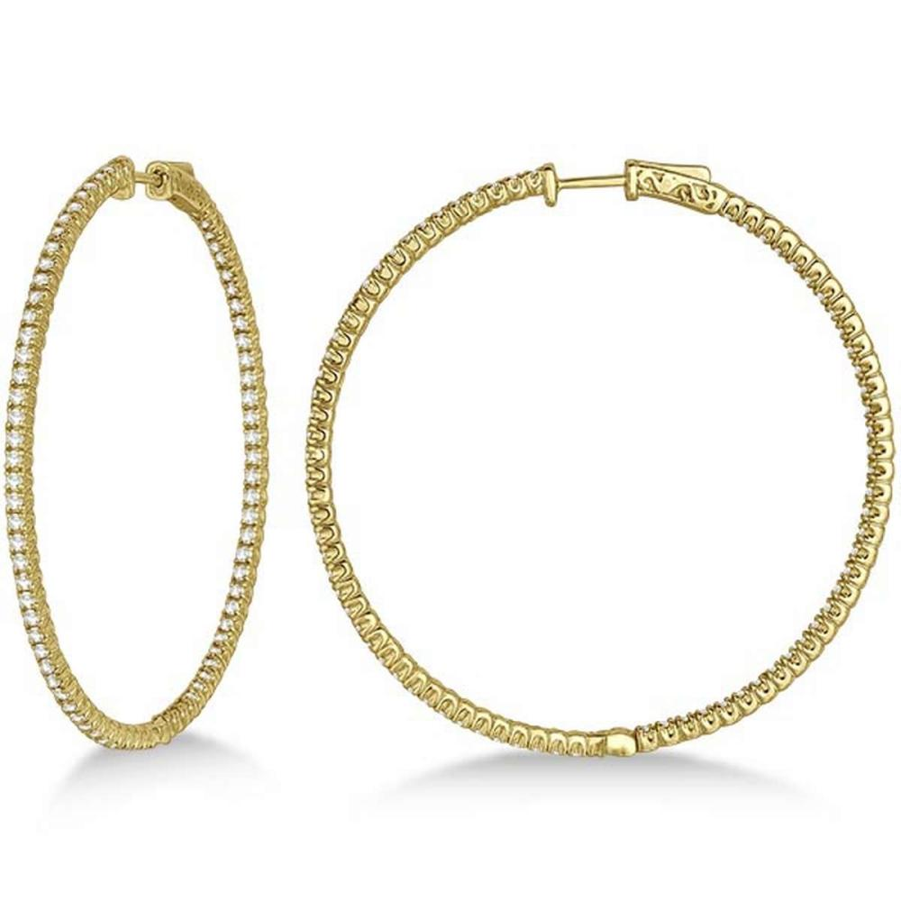 Unique X-Large Diamond Hoop Earrings 14k Yellow Gold (3.00ct) #PAPPS20932
