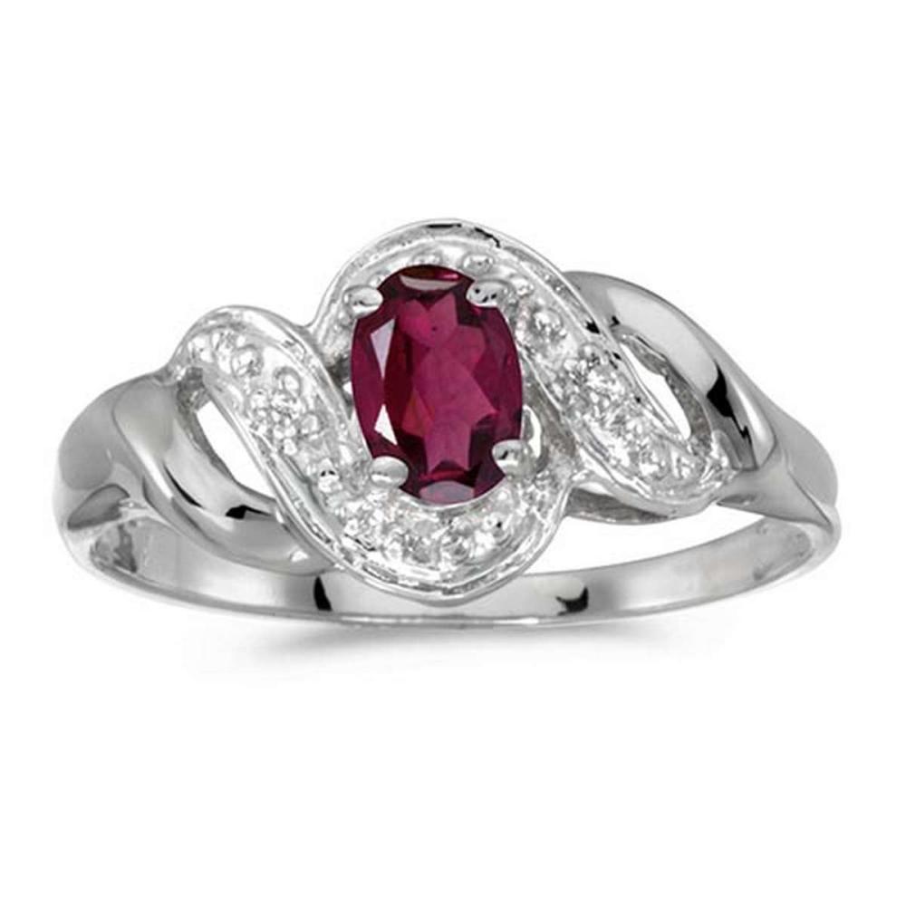 Certified 14k White Gold Oval Rhodolite Garnet And Diamond Swirl Ring #PAPPS51210