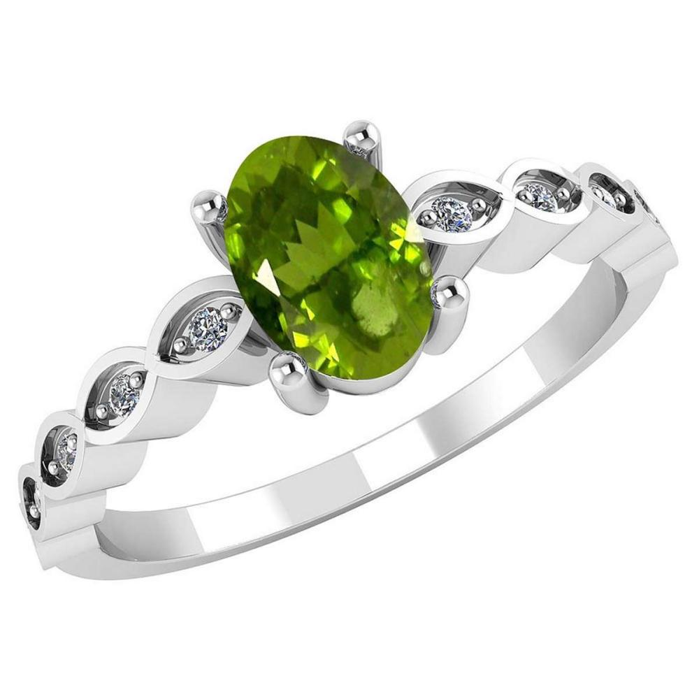 Certified .90 CTW Genuine Peridot And Diamond 14K White Gold Ring #PAPPS91709