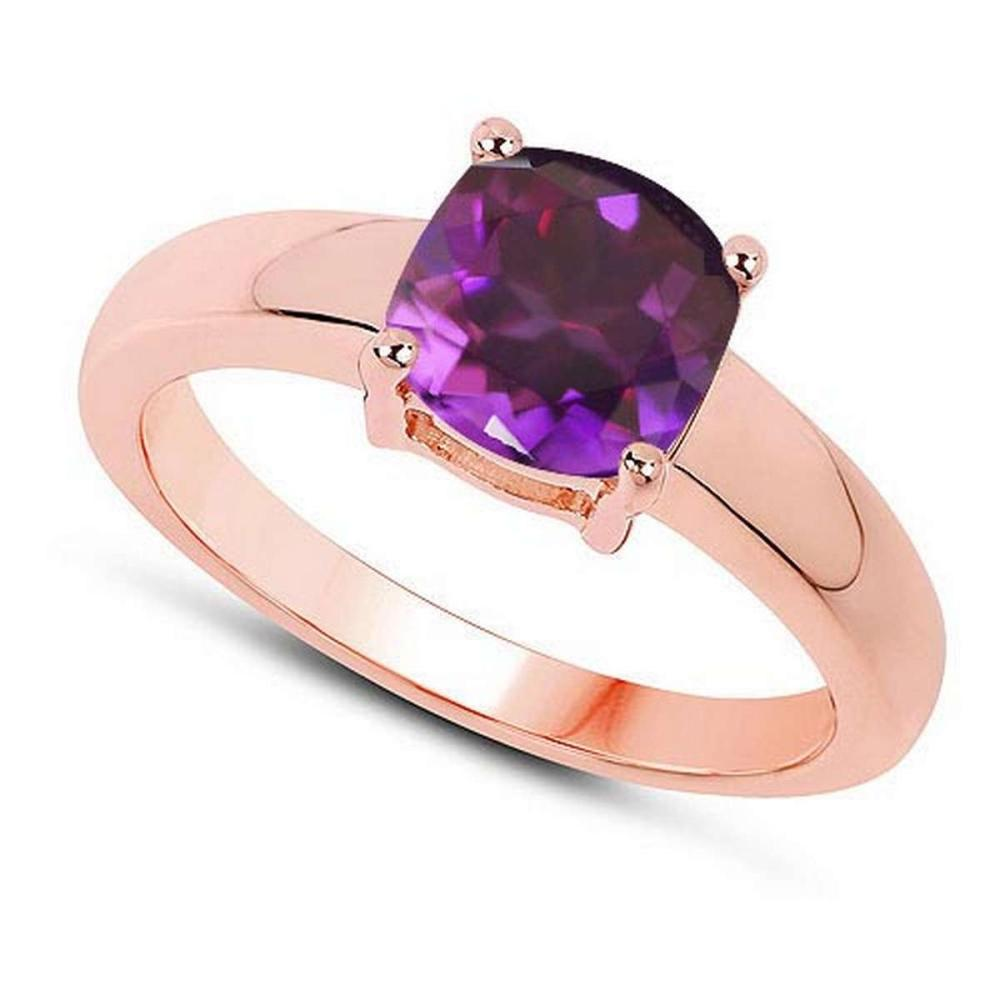 Certified 1.50 CTW Genuine Amethyst And 14K Rose Gold Ring #PAPPS90994