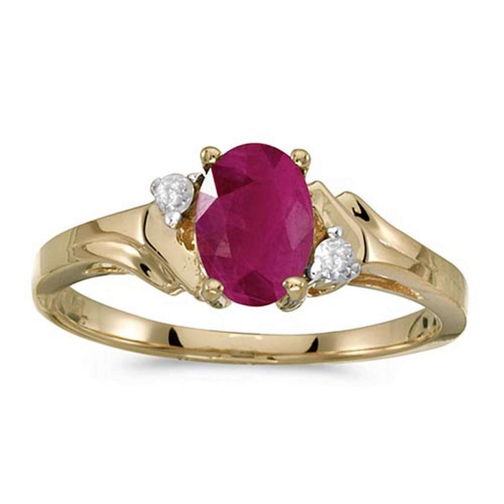 Certified 10k Yellow Gold Oval Ruby And Diamond Ring #PAPPS51306